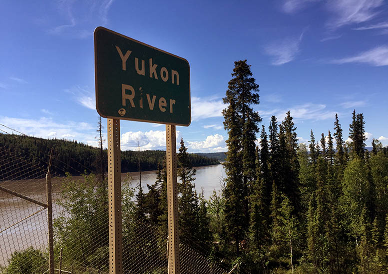 The timber-decked bridge over the Yukon is 56 miles into the trip north on the Dalton Highway