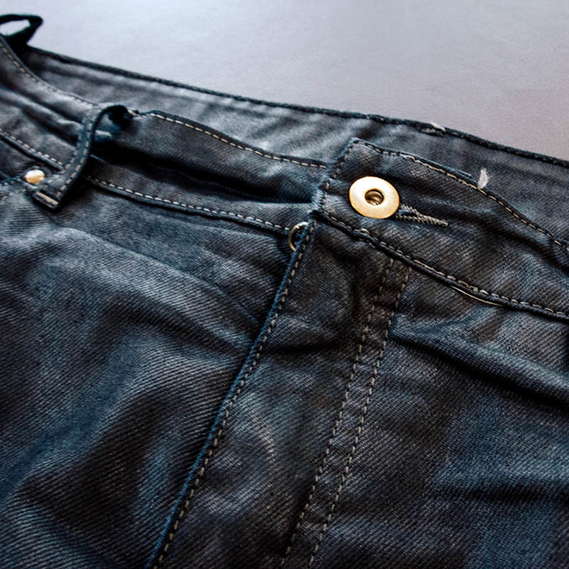 That shimmer comes from the oiled finish to the denim