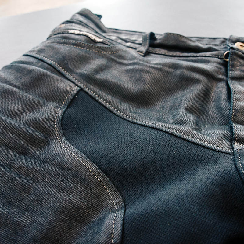 Stretch material at the crotch and legs is more flexible than traditional denim