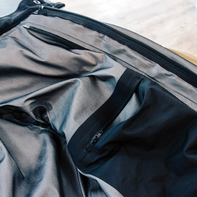 Internal pockets are protected by the waterproof membrane, so no wet wallet or phone