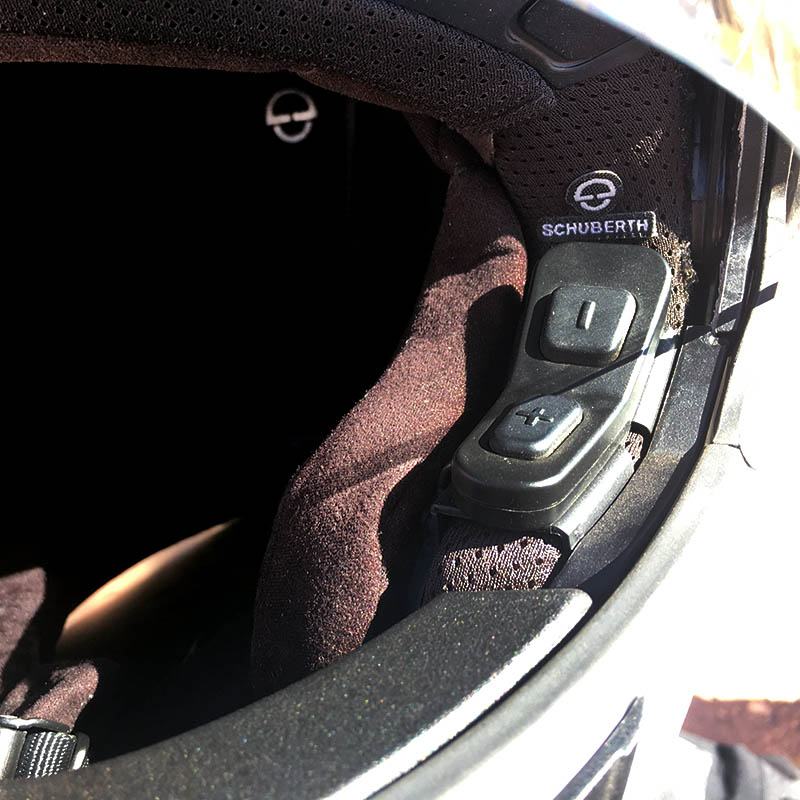 Controls for the SC10 Bluetooth comms system sit discreetly inside the visor aperture
