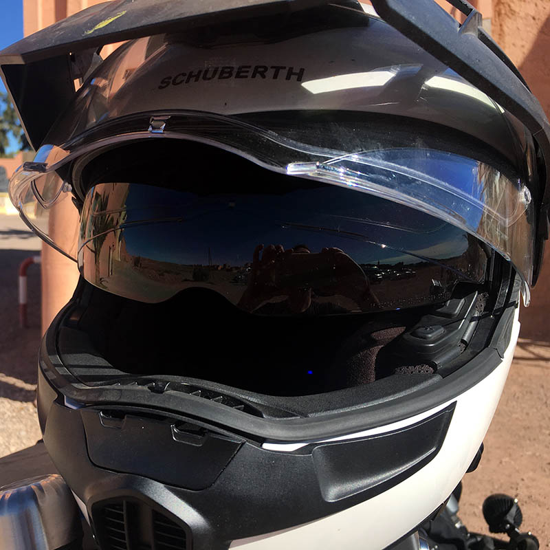 The dropdown sunvisor is a touring essential and the E1's does the job perfectly