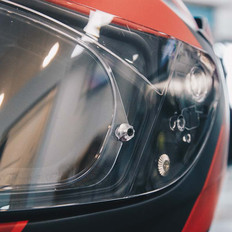 Tension on the visor insert is easily adjusted with a small screwdriver