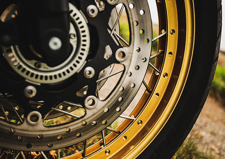 Gold wheel rims look great. If practicality is your watchword, then take care - the channel between the spoke mounts is a very effective dirt trap