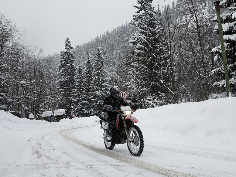 We hope there's snow tyres on that bike!