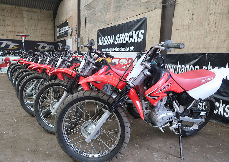 The Honda CRF100 machines will keep going all day (which is more than can be said for some of the pupils)