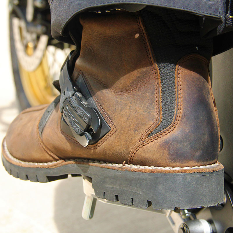 The chunky treaded sole gives good grip on the bike's footpegs