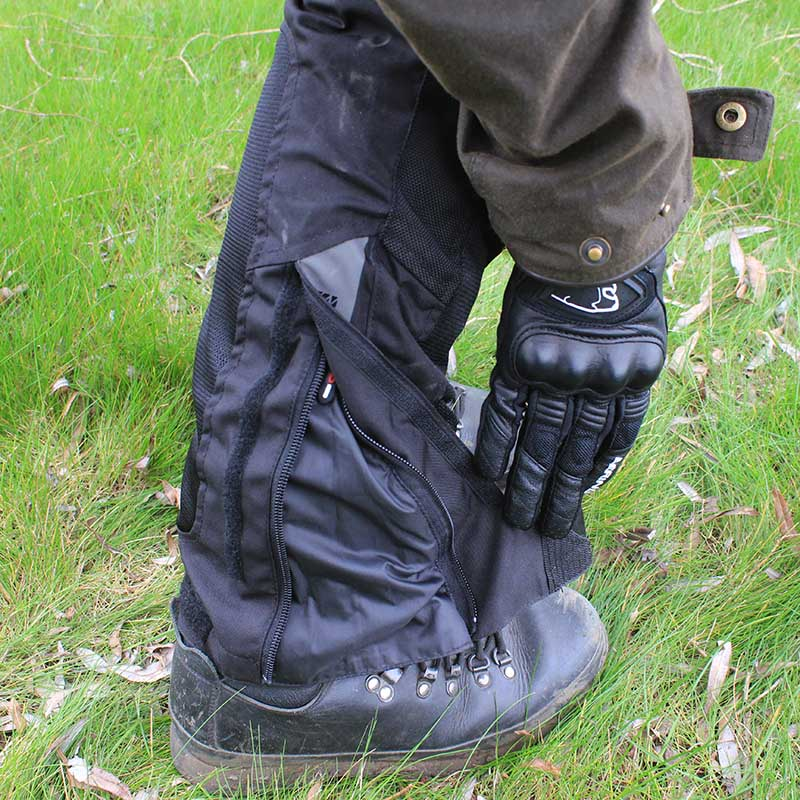 A large zipped opening makes getting boots underneath the trousers easier