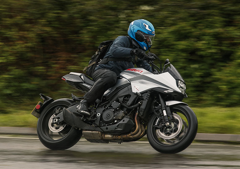It rained on the UK launch of the Katana. A lot. Handy for discovering its forgiving throttle response