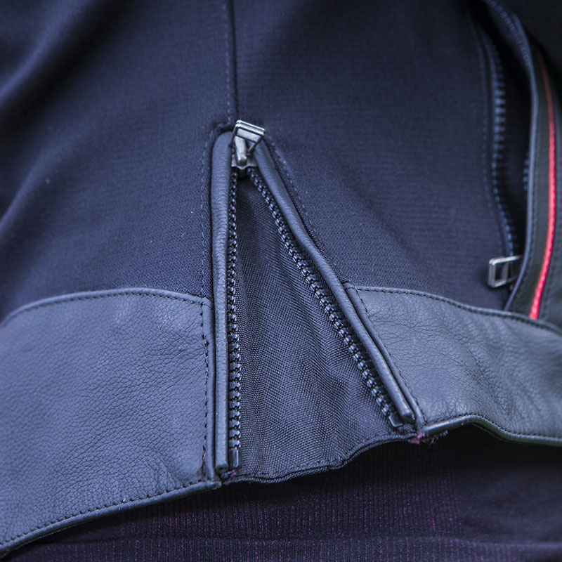 Zips on the bottom of the jacket can be used to adjust fit
