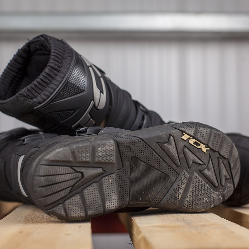 A chunky sole offers lots of grip on the bike's footpegs