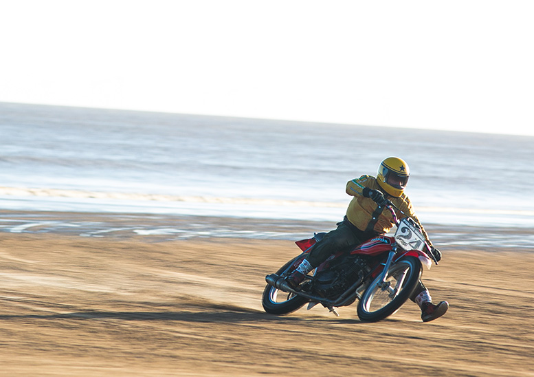 Former top-level racer and team manager Neil Tuxworth still gets his kicks on Mablethorpe beach in 2019