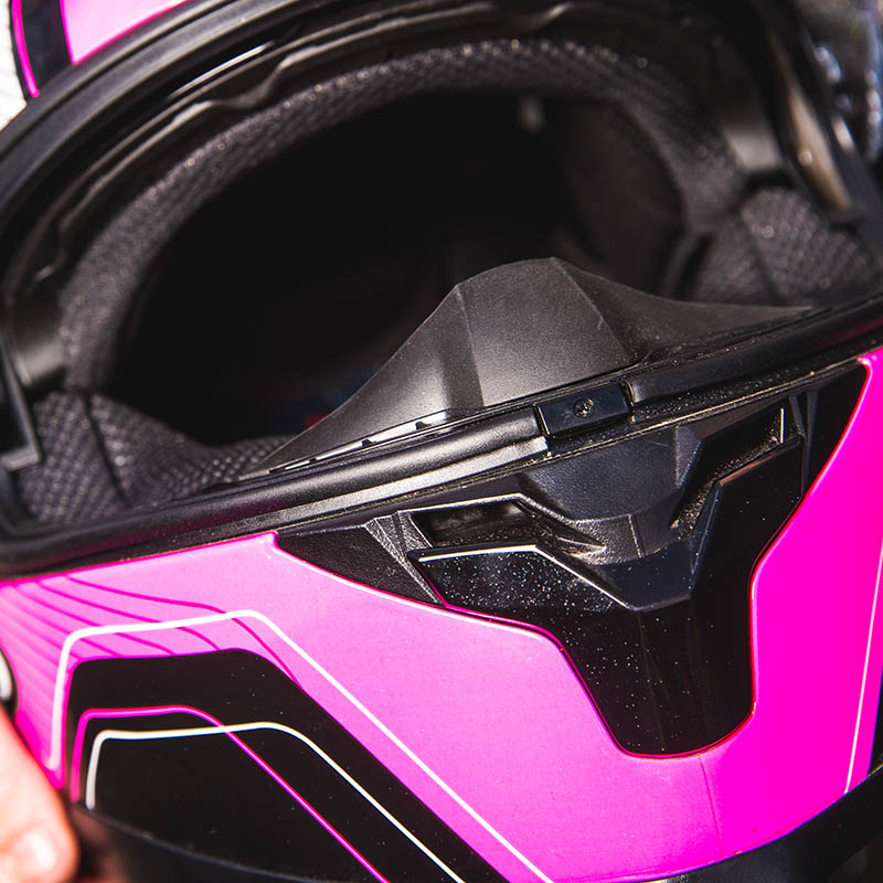 Breathguard helps keep mist off the visor, but it's not enough if it's raining