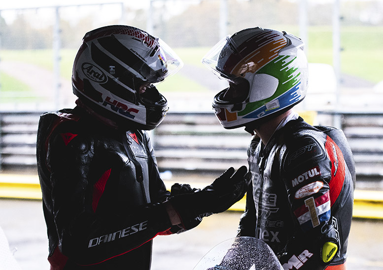 Glen (left) and Hudson try to fathom out why their CBR felt sluggish in practice