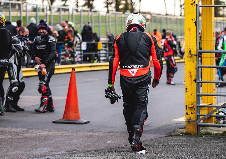 Glen trudges back to the garage after the Honda CBR125 went bang underneath him